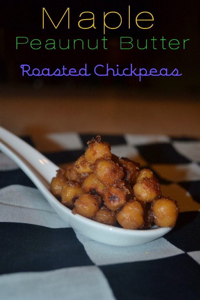 Maple-Peanut Butter Roasted Chickpeas.   Ingredients   1 can of garbanzo beans/chickpeas  1 heaping spoon of peanut butter  1/4 cup of Maple Syrup.