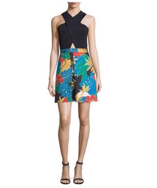 Alice + Olivia Ali Crossover Floral-Trim Ponte Dress (neimanmarcus.com)