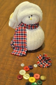 Use the toe of your cut socks to fashion a stocking cap. Or you could use colored argyle socks to create hats and sweaters for your snowman.