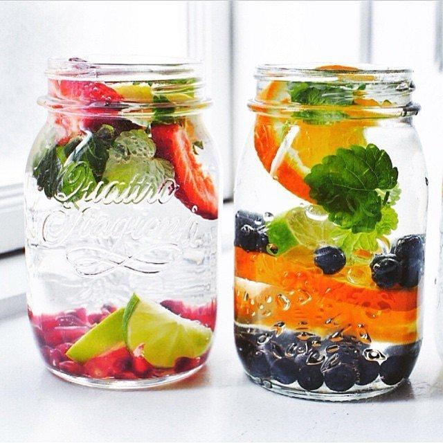 Orange and Berries Water goes from blah to crave-worthy with additions like blueberries, orange slices, and pomegranate seeds.