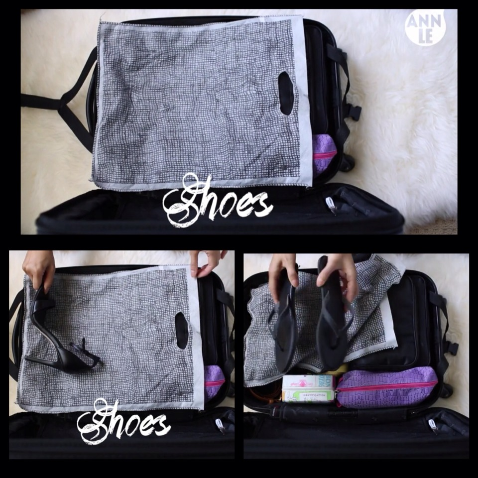 1 pair of evening shoes/heels 1-2 pairs of sandals or flip flops (Those reusable store bags are great!)