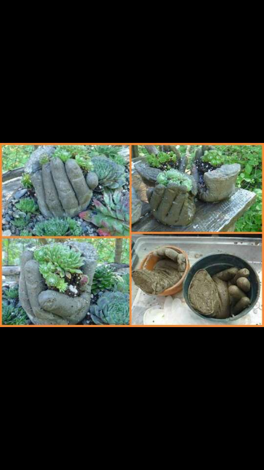 #1Fill a glove with cement  #2 put the glove in a position #3 Put some soil and a plant and voila!!  #4 Enjoy ... plant holder