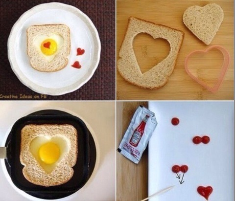 These cute little eggy bread heart look amazing and won't take too long - great for valentines day/ mothers day/ ect