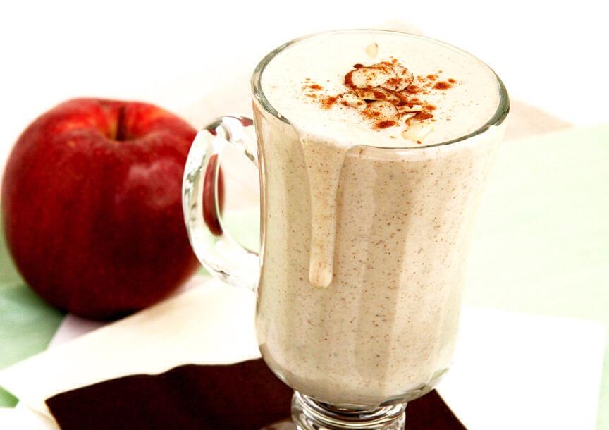 1 apple  1 banana 3/4 cup Greek yogurt 1/2 cup almond milk 1/2 teaspoon ground cinnamon  Blend and enjoy :)