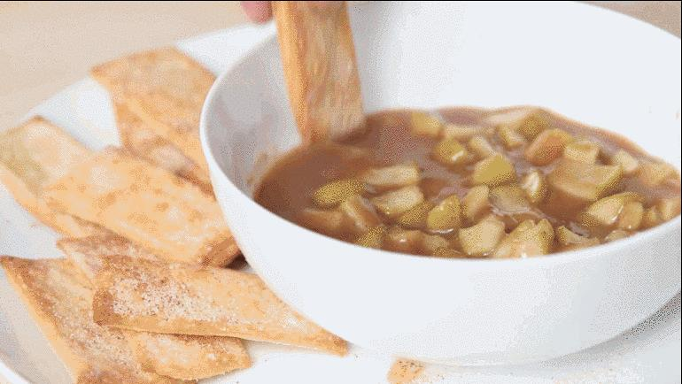 2. Warm Apple Pie Dip with Cinnamon Sugar Crisps  https://spoonuniversity.com/cook/deconstructed-apple-pie-dip-with-cinnamon-sugar-pie-crust-chips/?utm_source=buzzfeed&utm_medium=referral&utm_campaign=content-partnerships