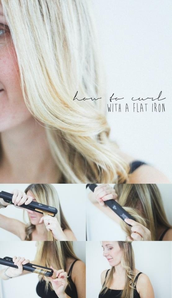 3. Use your flat iron to make big, bouncy curls.