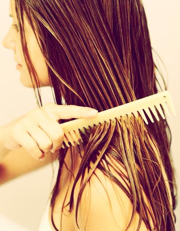 Number 3: when your hair is wet... Don't brush it with a bristled or wire brush. This damages yours hair (which won't really affect the growth, but will cause bad split ends) and you want your hair to be as healthy as possible when trying to grow it out.