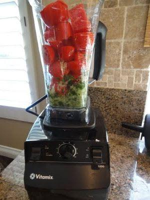 8-10 Roma Tomatoes 6 Basil leaves 3 Cloves of Garlic 3 Tbl. Olive Oil 1 Sweet Onion Directions: Mix all of the ingredients well in your Vitamix machine until warm and smooth