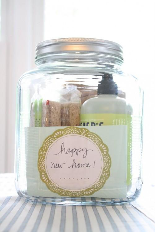 Anyone would love this simple yet thoughtful housewarming gift.  Just fill a jar with a few of your favorite household items.  This jar included things like a favorite soap, cleaning sponges, a dishtowel and more.