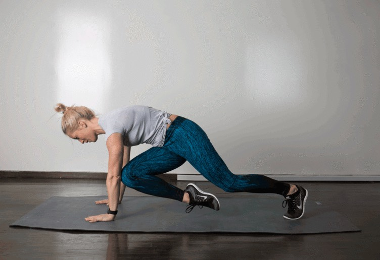 6. Cross Body Climber  From ahigh plank position with your body straight, hips level, and core braced, lift right leg and draw right knee toward left elbow. As you return right leg to plank, lift left leg and draw left knee toward right elbow. Continue to alternate.