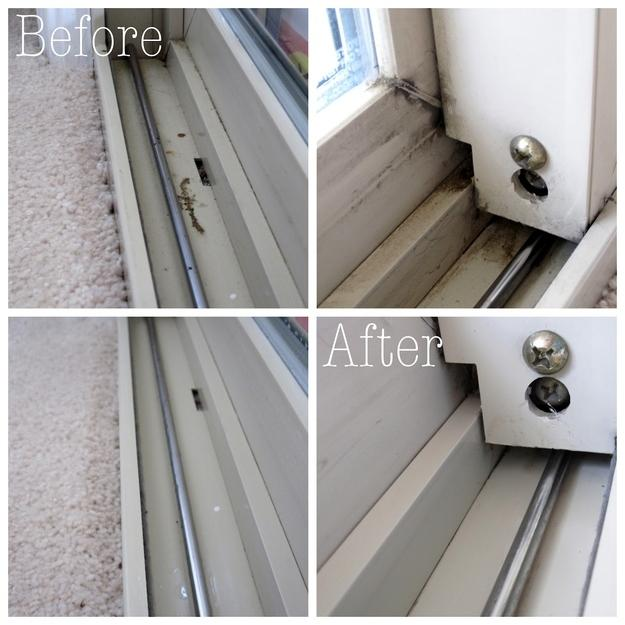 17. Use a cotton swab dipped in vinegar to clean your window tracks.