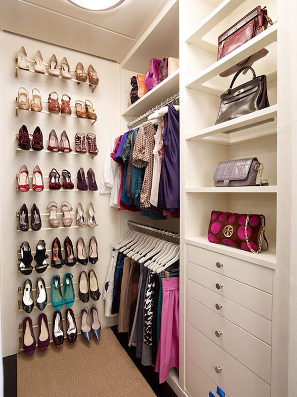 Use shoes racks on the walls to save space and keep them from cluttering your floor.