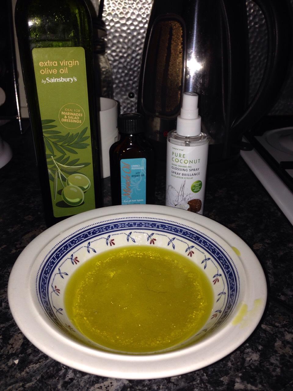 Oil, extra virgin!  argon oil Coconut oil And egg white for shine!!