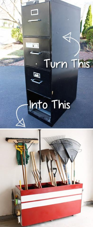 File Cabinet Into A Garage Storage Favorite  http://blog.tttreasure.com/2012/turning-your-old-file-cabinet-into-a-garage-storage-favorite/