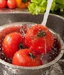 1) The vinegar soak after a 10 minute exposure.  Our spray bottle includes: 2 cups water 2 cups white vinegar (with 5% acidity) Then, placing our veggies in a bowl for a good soak, the kids spray Step 2) The elbow grease under running water.  Simply by rubbing your fruits and veggies with your hand