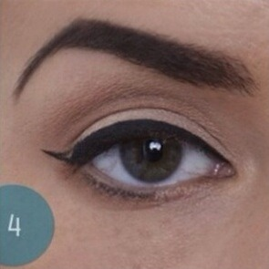 If you choose to make a cat eye, outline the wing with the angled part of your brush.