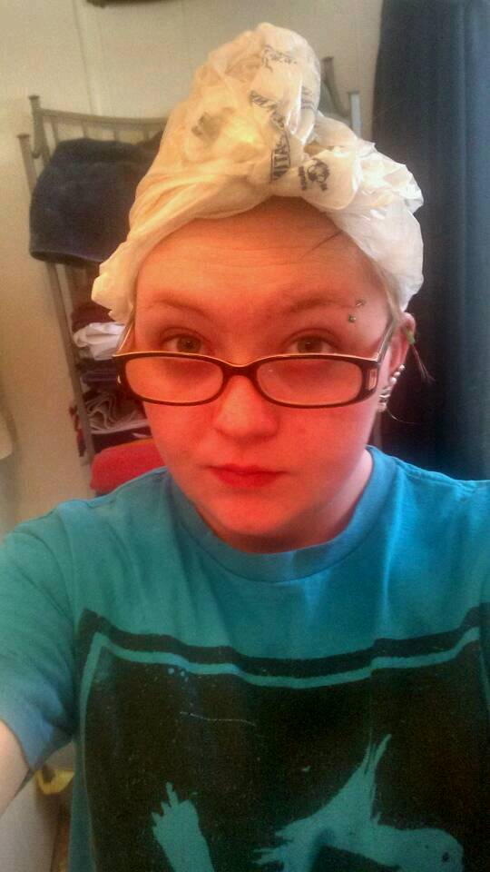 wrap your head in a towel or plastic bag. it keeps the oil warm and helps not make a mess. wait as long as you want. I subject waiting at least an hour. you can leave it on over night. if you leave is on over night make sure you wrap your head good. a shower cap would work.lay a towel on your pillow