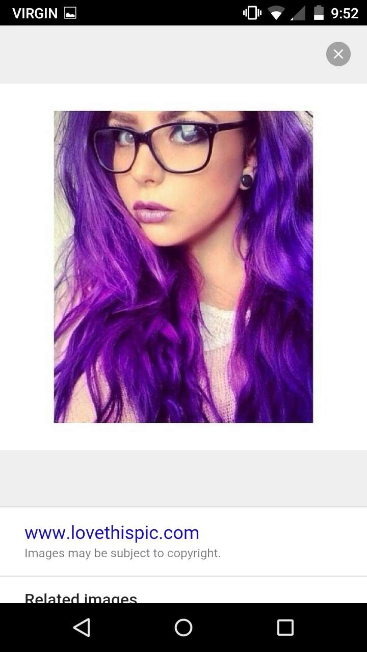 Love her two toned purple... and #glasses!