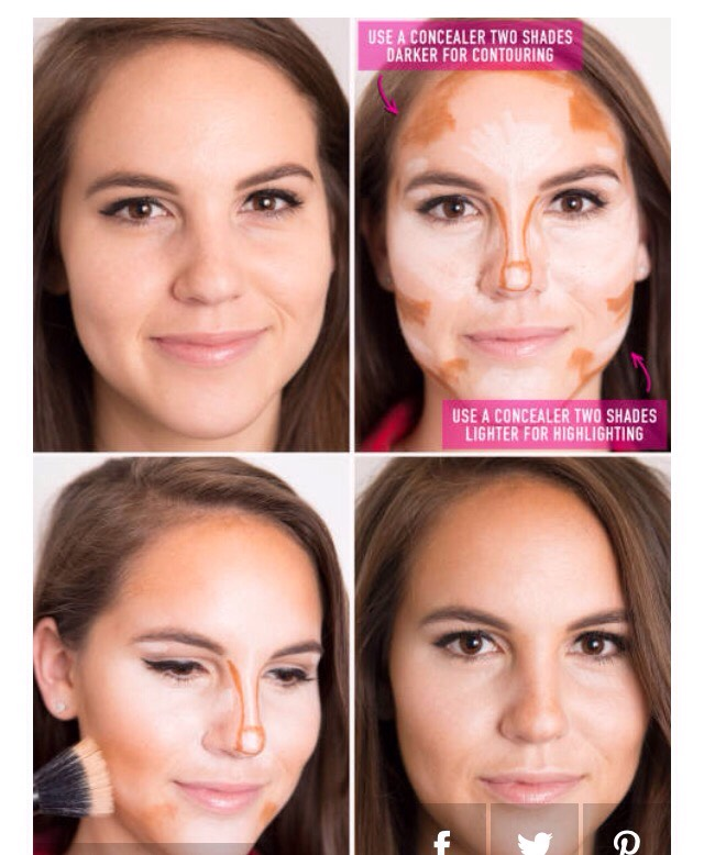 7. Amp up your going-out makeup by contouring and highlighting your facial features with two concealers: one two shades darker than your skin tone and one two shades lighter.
