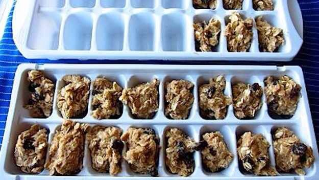 Freeze cookie dough in ice cube trays for perfectly portioned ready-to-bake snacks.