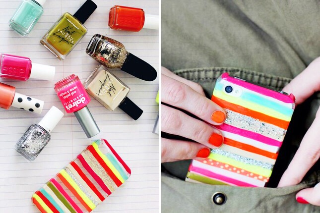 18. Nail Polish Stripes: Nail polish strikes again! This time the nail art is all over your phone case.