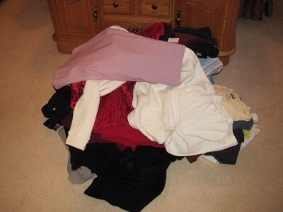 1. First thing's first: Pare down your clothes inventory. Yeah, it sucks. But if you don't have space for it, you don't have space for it.