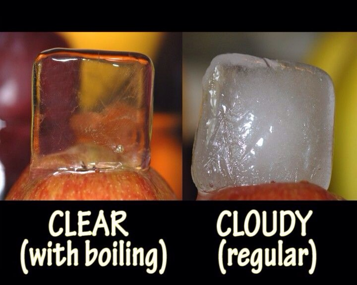 Boil water before freezing for ice cubes to create a clear ice cube instead of cloudy!