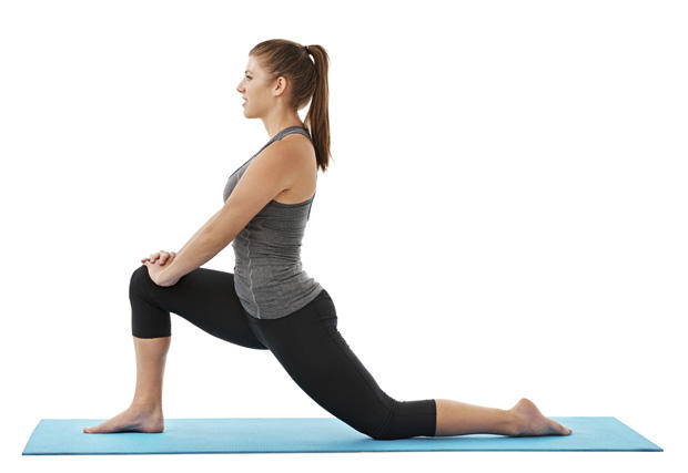 7.) Stretch your quadriceps and inner thigh muscles by mimicking this stretch. This stretch also lifts your booty as well. Do this stretch for 30 seconds per leg.
