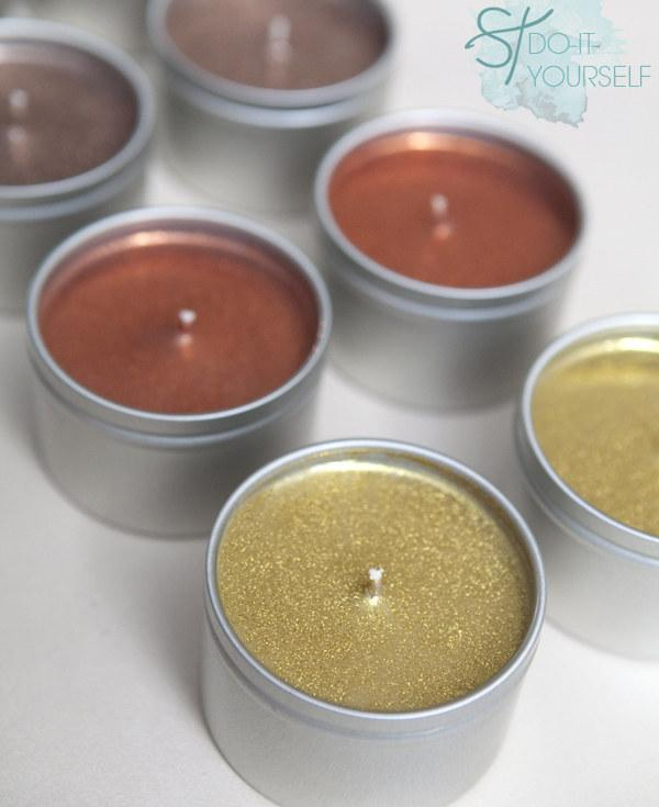 28. And these glittery ones in tins.  http://somethingturquoise.com/2012/11/16/diy-poured-glitter-tin-candles/