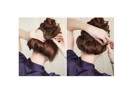 Roll the ponytail upwards and towards your head in a nice little tube. Secure with several bobby pins from the inside out.