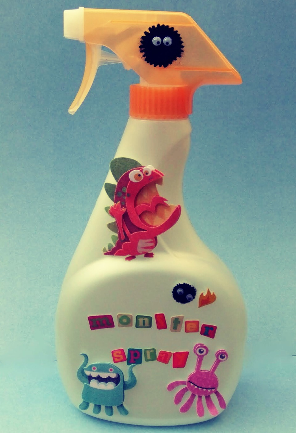 Is your kid scared of monsters and won't go to sleep at night? Put water in a spray bottle, label it monster spray and let your child spray this around the room.