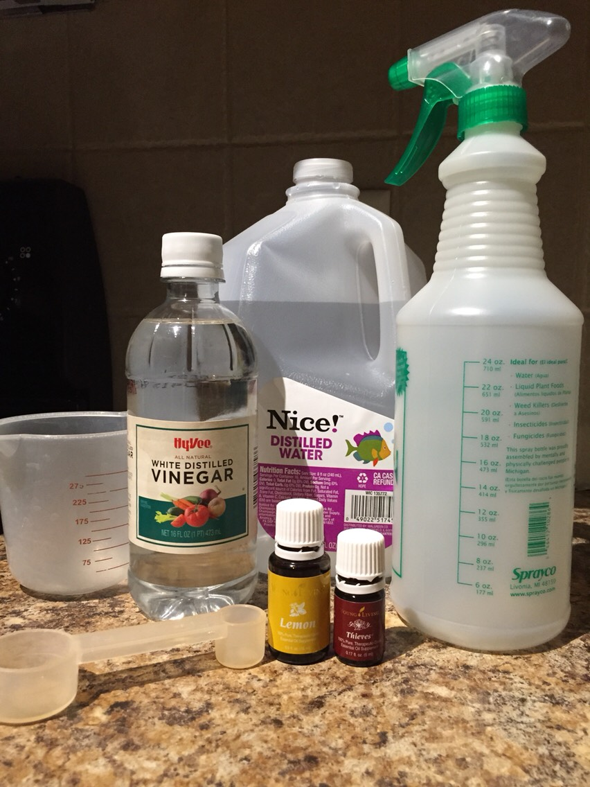 To get the grime off appliances, inside the fridge, sinks, tubs, toilets, and counters this is a non-toxic way that is easy to make 6 oz of distiller white vinegar, 6oz distilled water 12 drops thieves and 12 drops lemon shake well spray and wipe away. Let sit for stuck on grimy messes