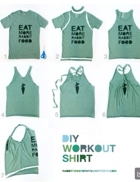 Transform your old or new t-shirts into cute new workout tops.