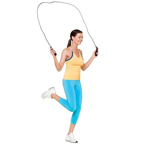 Jumprope  Target: Cardio + arms + back + shoulders Reps: Jump for 1-3 mins as fast as you can without getting sloppy  Tips: Add wrist weights or use a weighted rope to up the burn!