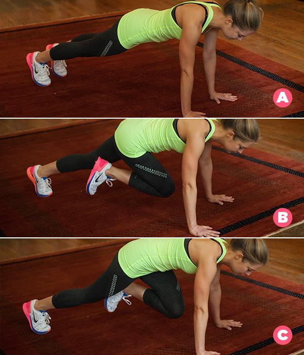 MOVE 2Mountain Climbers ring a knee into your chest a total of 30 times.