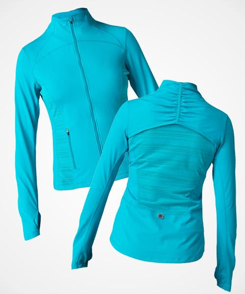 Roxy Frequency Jacket  Wear this jacket as a middle layer for a super chilly workout or on its own in milder temps. A large mesh panel on the back lets sweat escape as you heat up and the ruching make it super flattering, too!