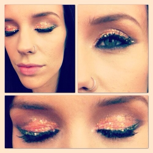 Simple yet amazing coral glitter eyes!