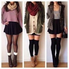 These are for the more warmer days of fall when you can pair combat boots with cute skater skirts