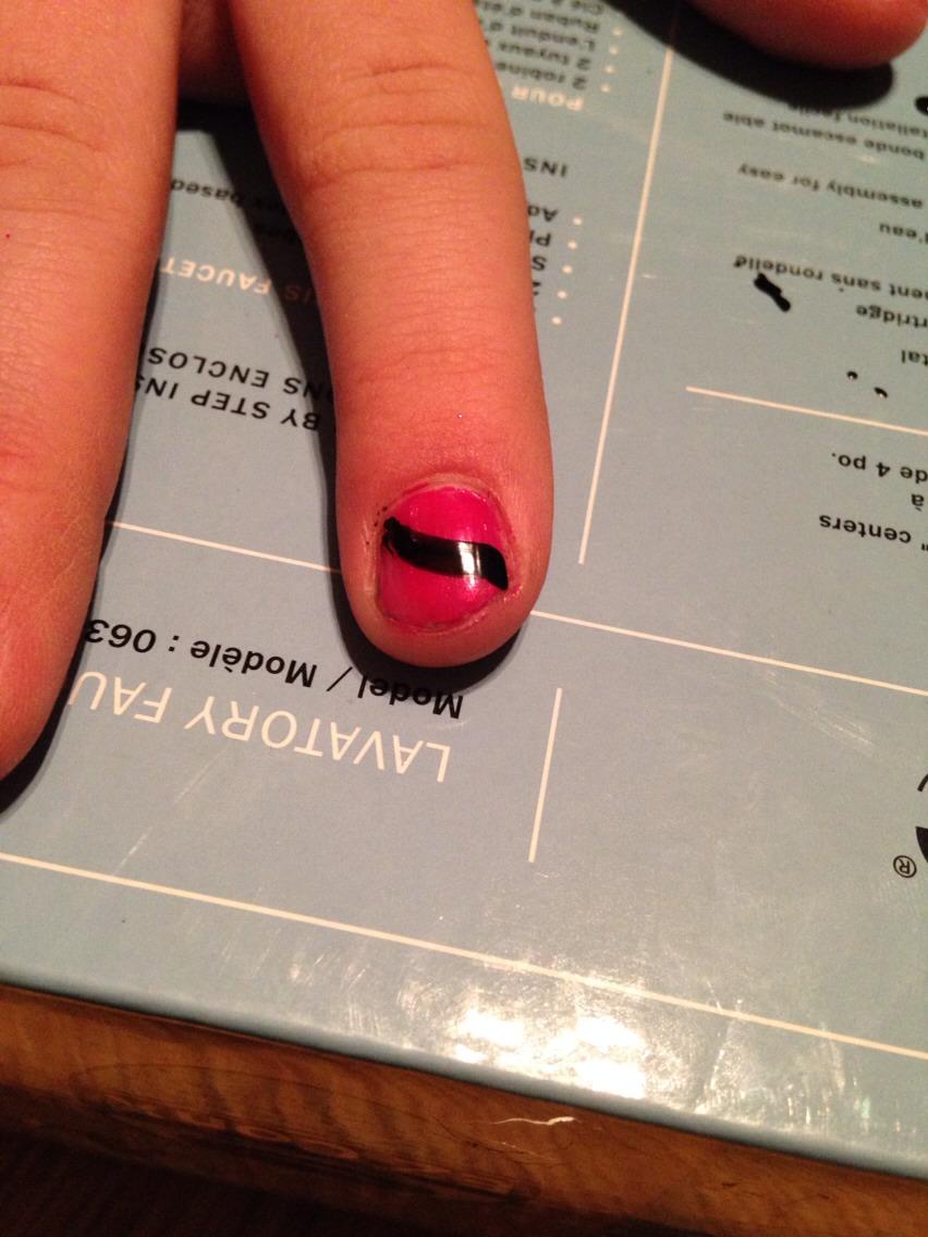 Put a different colour strip across the nails