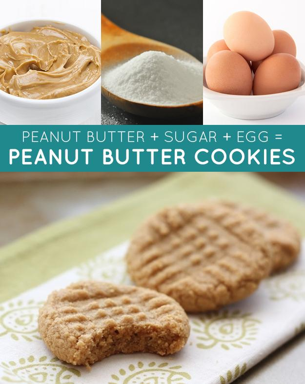 GLUTEN-FREE PEANUT BUTTER COOKIES: 1 cup sugar 1 cup peanut butter 1 egg Bake for 12 minutes at 350 F