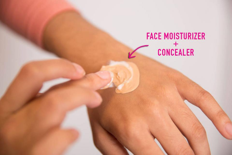 19. Create a tinted moisturizer by mixing your daily face lotion with a bit of your go-to concealer. This will help hydrate your skin while adding a subtle, tinted finish.