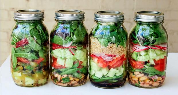 For a week of quick and healthy lunches, make up a batch of salads in a jar, they're easy to make and keep for up to a seven days in the fridge.