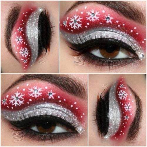 Last but definitely not least, my all time favorite! The classic red and silver glitzy snowflake eyes!
