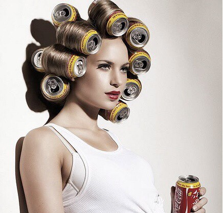 Use soda cans as rollers to get voluminous curls