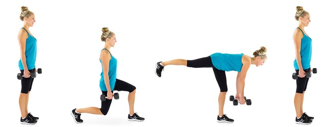 5. Lunge to Single Leg Deadlift:Creating curves means building sculpted leg muscles. This combois a perfect way to strengthen leg muscles, lift the booty and engage the core in one power movement. You want to perform this move for one minute, getting in as many reps as possible.