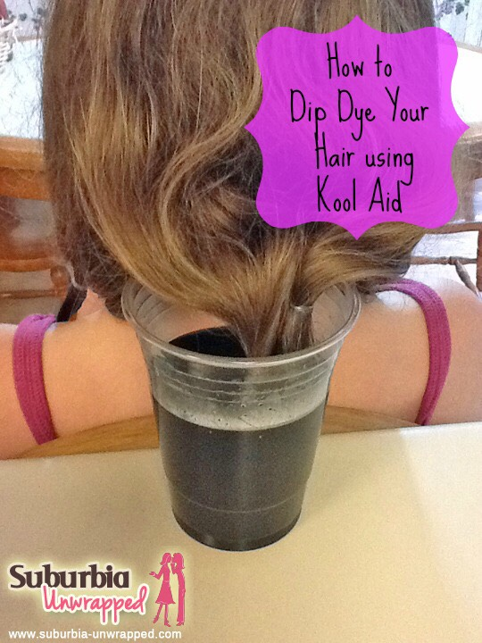 When you are ready to pour into a cup that you don't mind staining and then put your hair into a ponytail and dip it into the cup when Kool-Aid is in it.