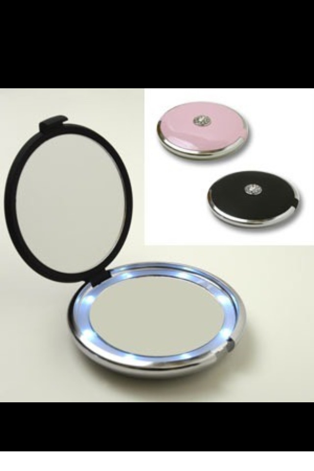 A hand mirror for hair and makeup check ups.