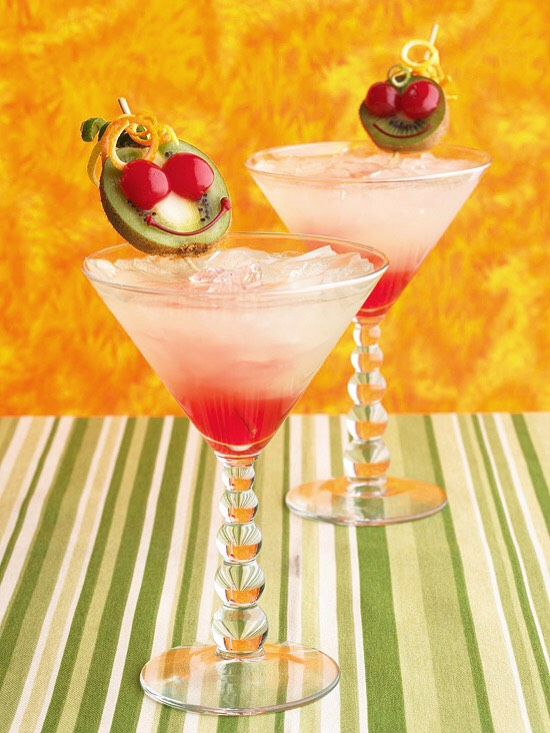 Gremlin Lemonade A martini glass with grenadine on the bottom, ice, and lemonade on the top serves as a toast-worthy Halloween drink. Spooky garnishes make this beverage even more holiday appropriate.