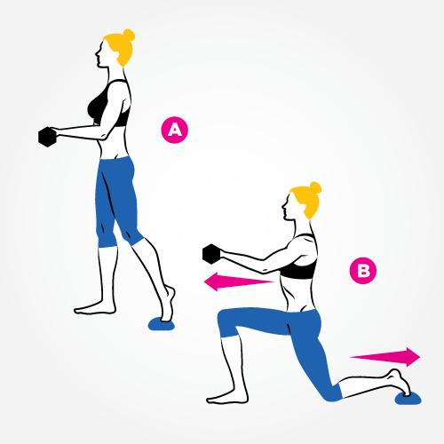 Place your left foot on a towel slightly behind your right. Hold dumbbells at waist height, elbows bent 90 degrees, palms facing up (A). Slide your left foot back into a lunge as you straighten your arms (B). Reverse the motion to return to start. That's one rep
