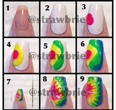 Start by making a tiny rainbow like pattern on your nail. Use tape if you need to. After doing the rainbow technique, use a toothpick or something with a sharp end on it to make it look like a ripple effect. Don't push too hard or you will take all of the polish off!